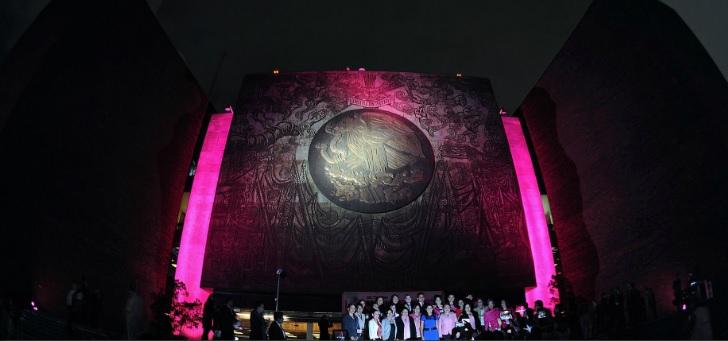 El Palacio Legislativo se iluminó de rosa para conmemorar este mes Foto: Cámara de Diputados